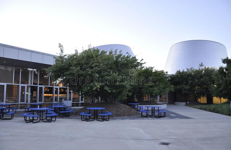 Montreal, 27th June: Park Olympic with Rio Tinto Alcan Planetarium from Montreal in Quebec Province of Canada. Park Olympic with Rio Tinto Alcan Planetarium from royalty free stock photo