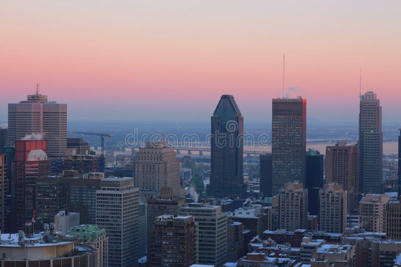 Montreal vinterskyskrapor arkivbild