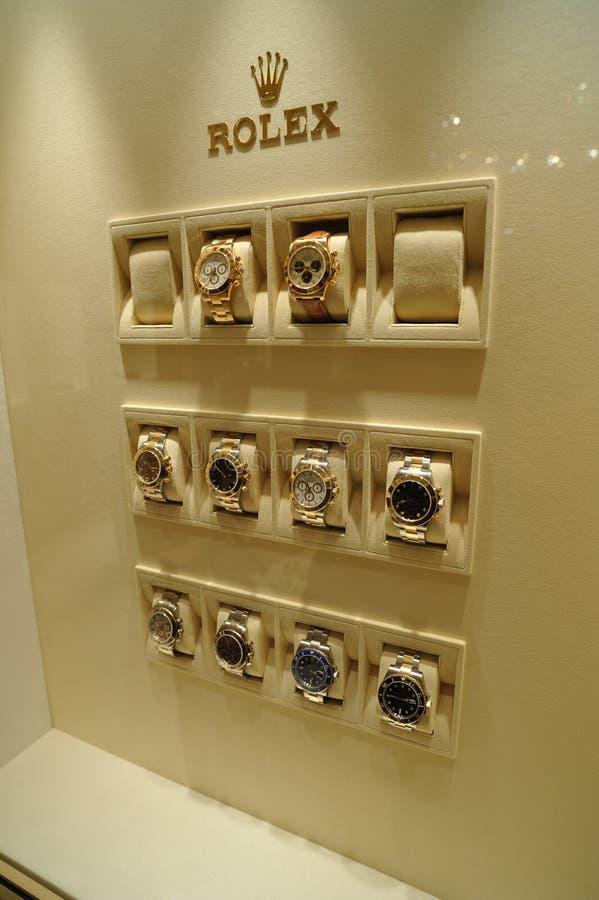 Montres de Rolex dans l'étalage photographie stock libre de droits
