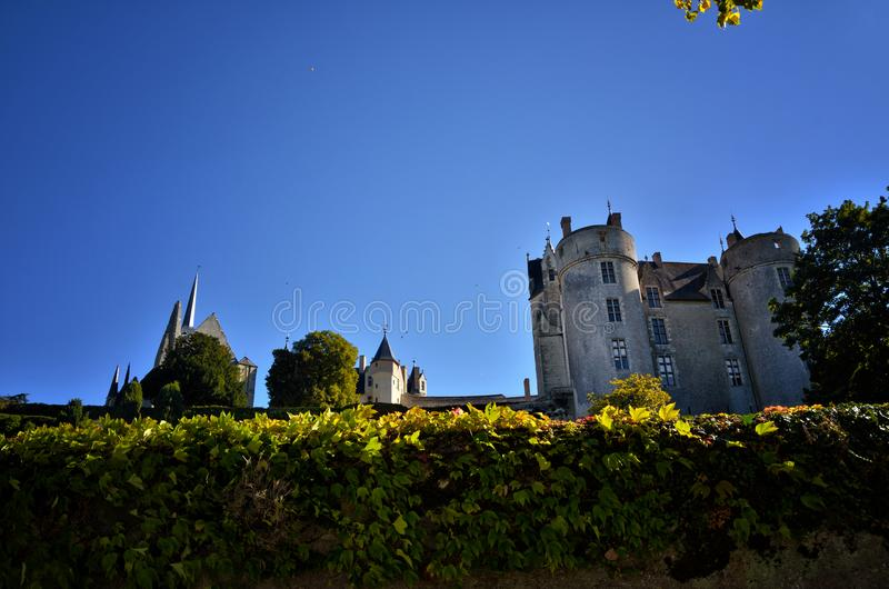 Montreuil-Bellay fransk turist- destination, detalj av den medeltida slotten royaltyfria foton