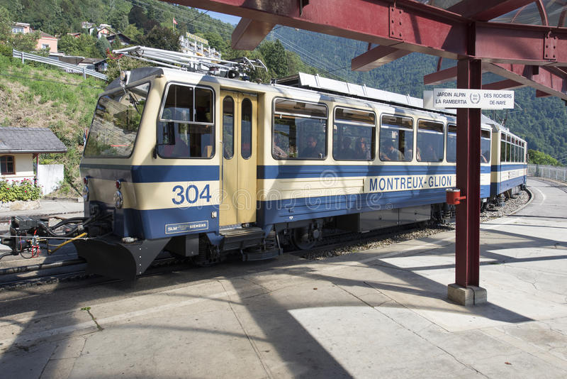 Montreux–Glion–Rochers-de-Naye railway. The Montreux–Glion–Rochers-de-Naye railway is an electrically operated rack railway in stock photography