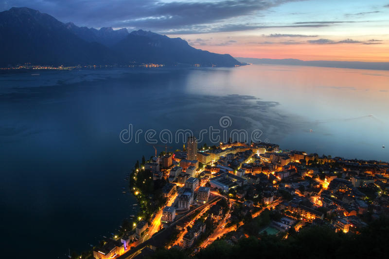 Montreux aerial, Switzerland. Aerial sunset view of Montreux, on the shore of Lake Geneva (Lake Leman) in Switzerland royalty free stock photo