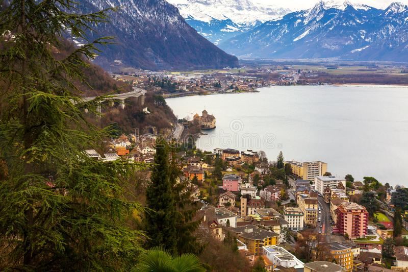 Montreux city panorama at winter time, Switzerland. Montreux city panorama and Leman lake at winter, Switzerland royalty free stock photo