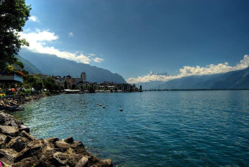 Montreux e lago Genebra fotos de stock royalty free