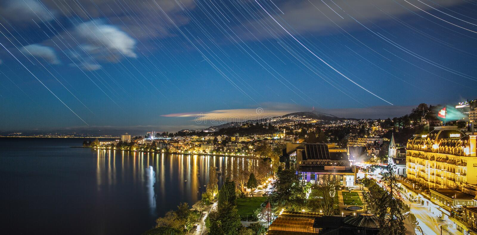 Montreux at mid night. Montreux is a traditional resort town on Lake Geneva , Switzerland .Chrismas market is the one famous of Switzerland royalty free stock photography