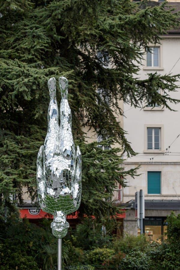 MONTREUX SCHWEIZ EUROPA - SEPTEMBER 15: Modern konststaty royaltyfri foto