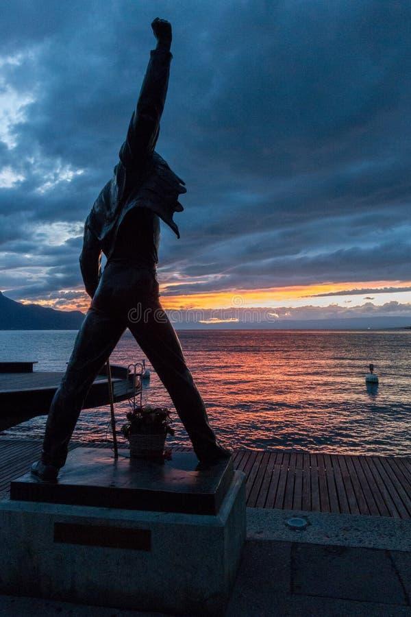 MONTREUX SCHWEIZ EUROPA - SEPTEMBER 14: Staty av Freddie royaltyfria foton