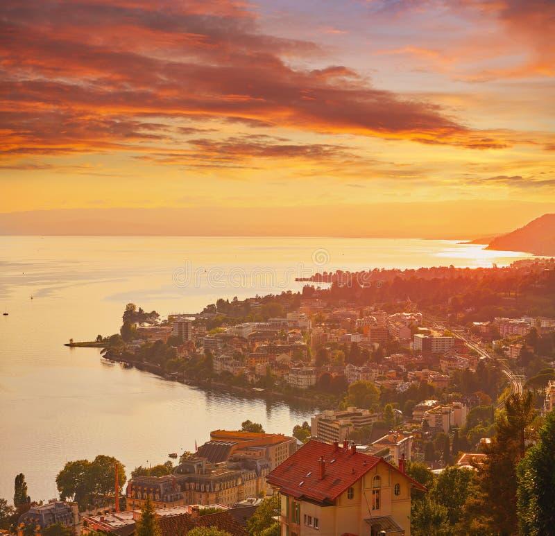 Montreux sunset skyline in Leman Geneva Swiss. Montreux sunset skyline in Leman Geneva lake Switzerland Swiss stock photos