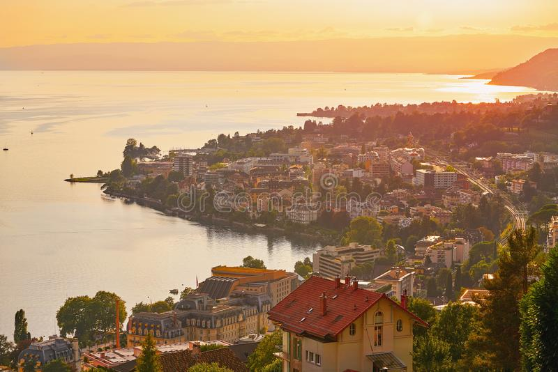 Montreux sunset skyline in Leman Geneva Swiss. Montreux sunset skyline in Leman Geneva lake Switzerland Swiss stock image