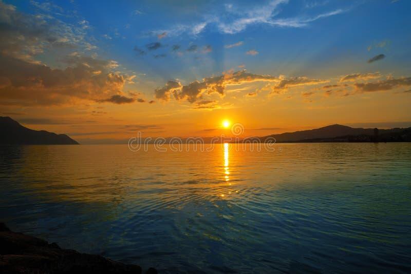 Montreux sunset skyline in Leman Geneva Swiss. Montreux sunset skyline in Leman Geneva lake Switzerland Swiss royalty free stock image
