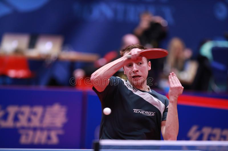 SHIBAEV Alexander from Russia top spin. Montreux, Switzerland, 3 February 2018. SHIBAEV Alexander from Russia top spin. First Round at the ITTF European Top 16 stock photo