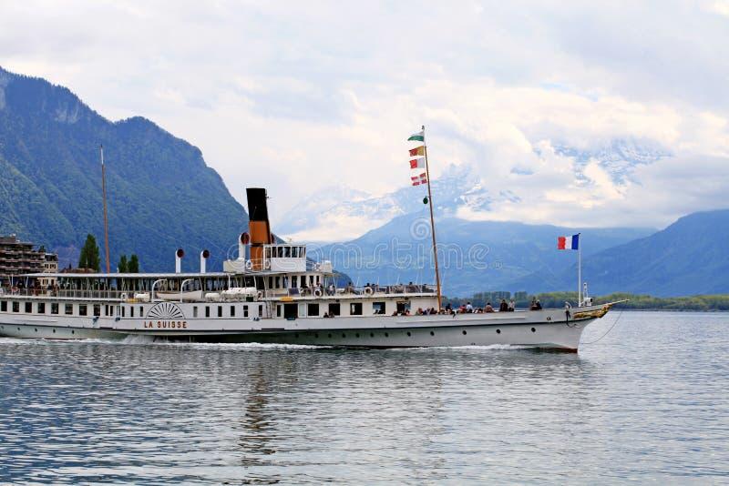 Cruise boat La Suisse on Lake Geneva Lac Leman in Montreux, Sw. MONTREUX, SWITZERLAND - MAY 09, 2013: Cruise boat La Suisse on Lake Geneva Lac Leman in Montreux stock image