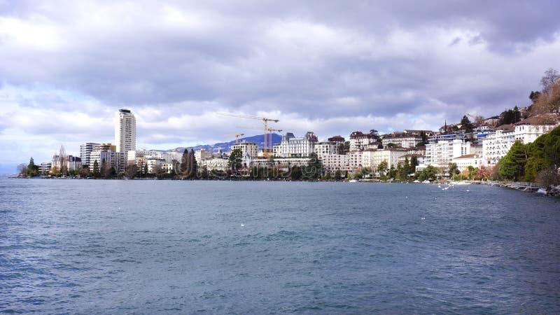 Montreux, Switzerland. The Montreux Skyline, Lake Geneva, Switzerland royalty free stock photo