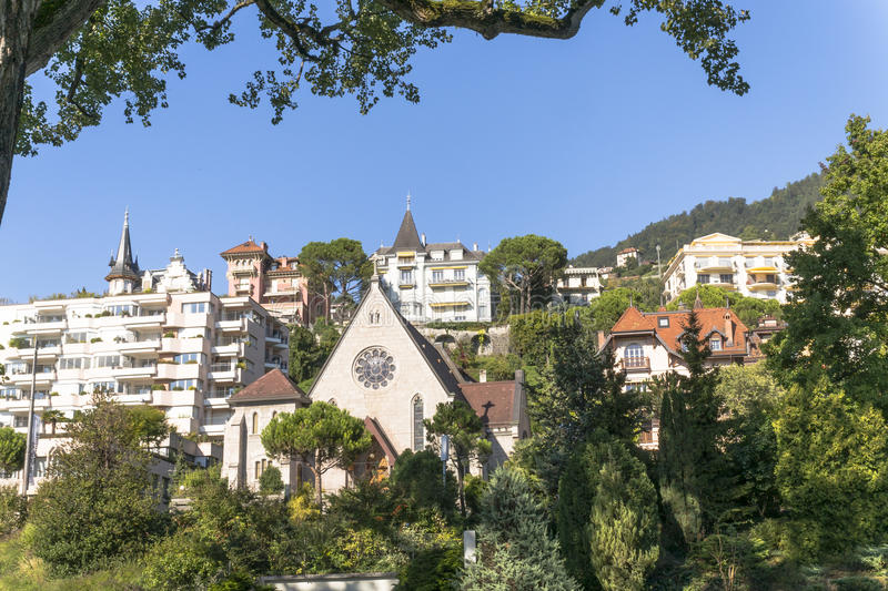 Montreux town. And Lake Leman in Switzerland royalty free stock image