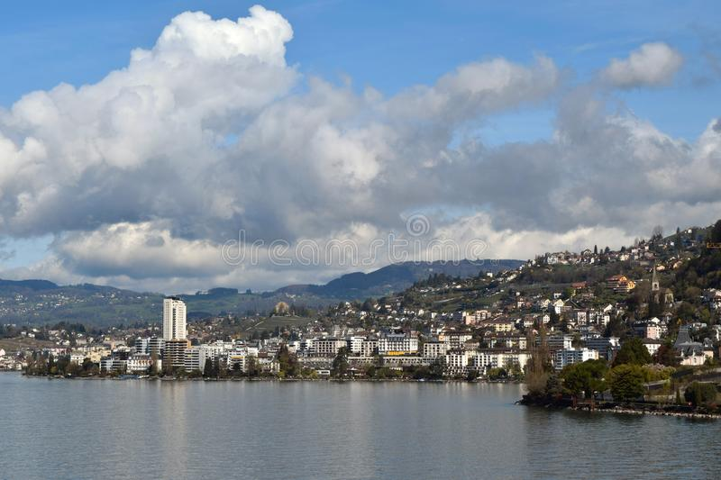 Montreux, viewed from Lake Geneva. Montreux, Switzerland, viewed from Lake Geneva stock image