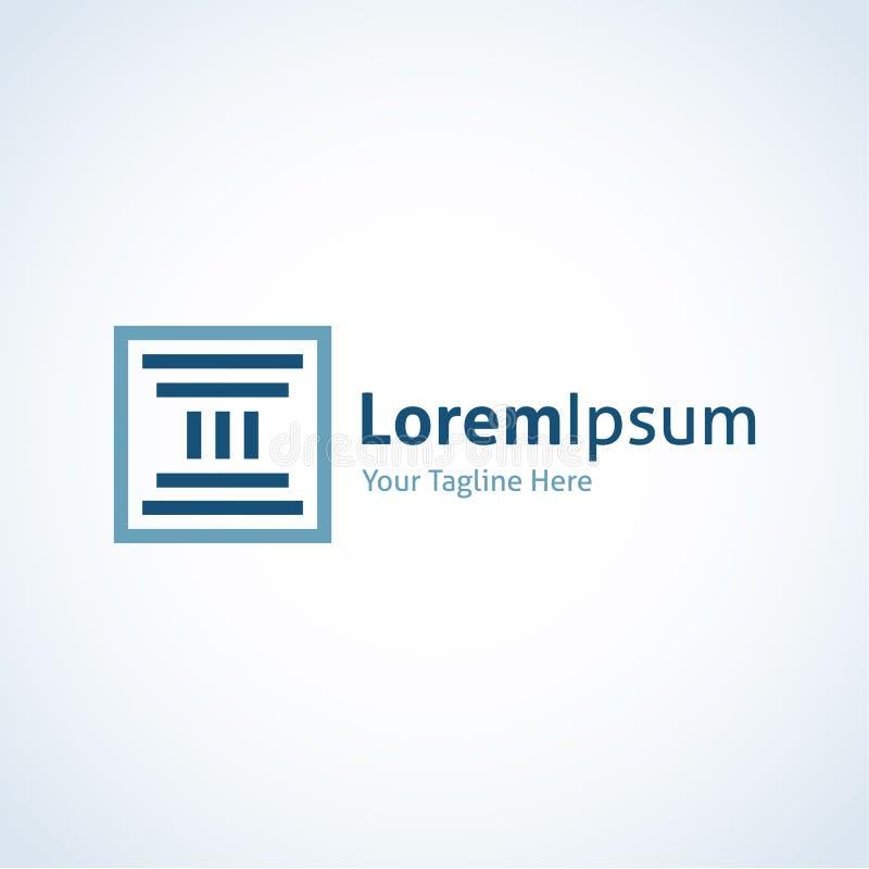 Montrez à votre force l'icône grecque de logo de base de colonne illustration stock