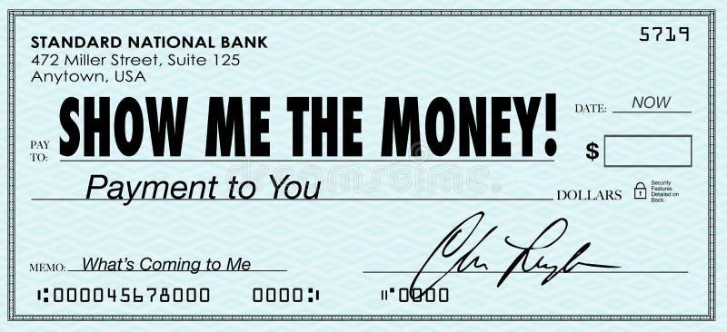 Montrez-moi les salaires de revenus de jour de paie de contrôle d'argent illustration de vecteur