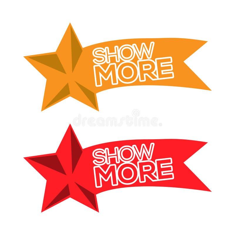 Montrez plus de vecteur pour l'icône, le bouton, le label, etc. illustration stock