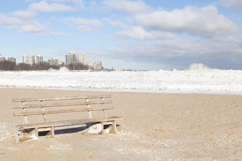 Montrose Beach hivernal image stock