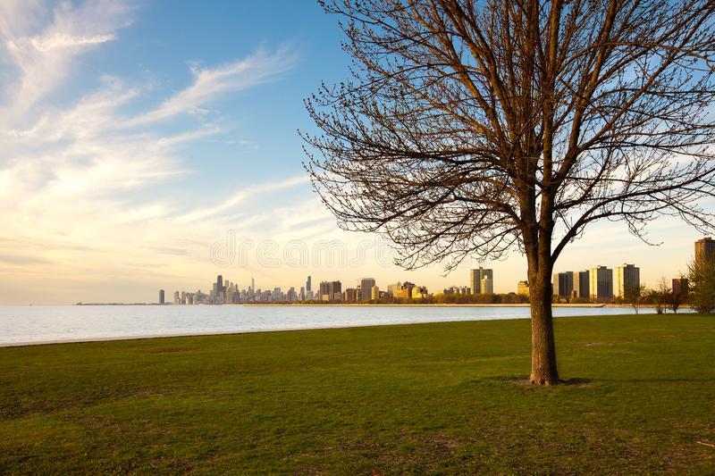 Montrose Harbor and Lincoln Park at the shore of Lake Michigan, Chicago. Illinois royalty free stock photo