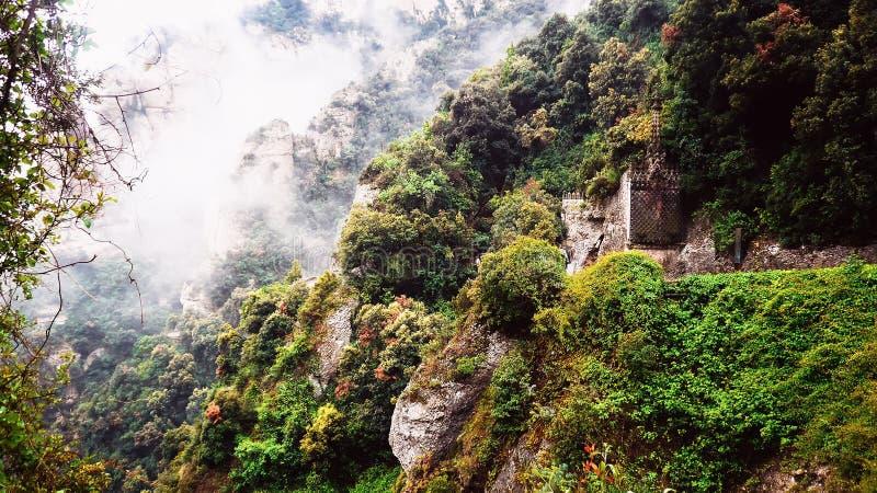 Montserrat. Fog in the mountains Montserrat royalty free stock photos