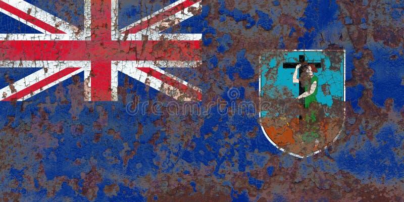 Montserrat grungeflagga, brittiska utländska territorier, Britannien de royaltyfria foton