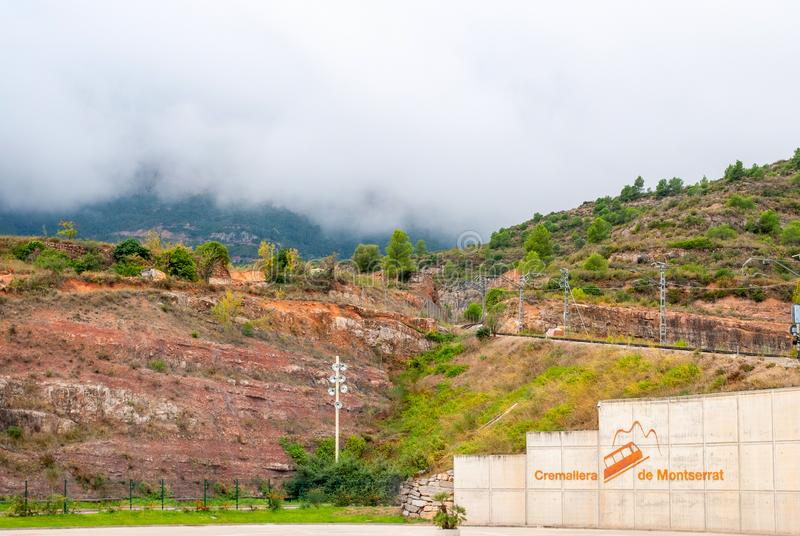 Montserrat het station van de monorailspoorweg, Catalonië, Spanje stock fotografie