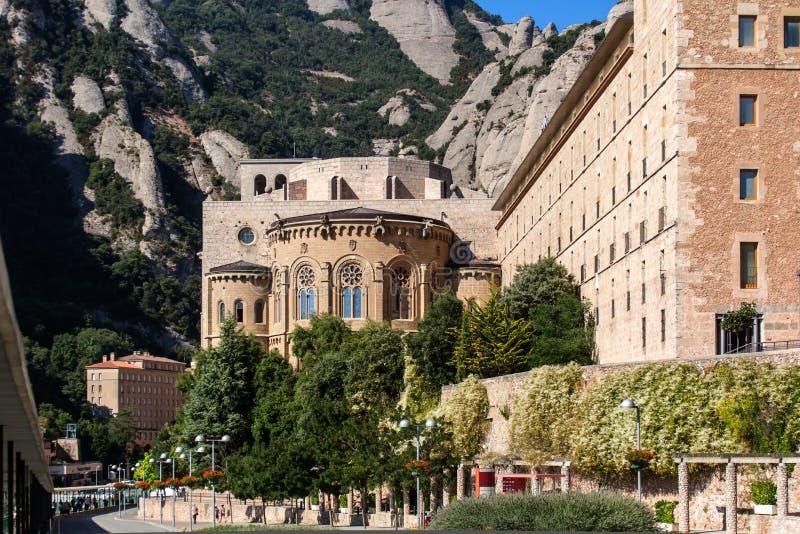 Montserrat klooster vooraanzicht stock foto's