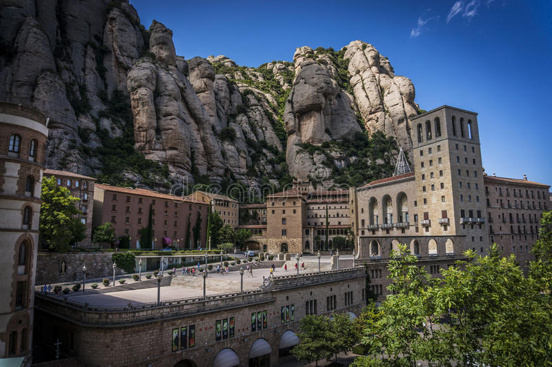 Montserrat monastery. On rocky montains royalty free stock photography