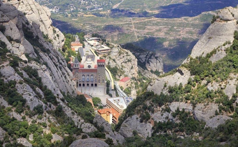 Montserrat Monastery, visión aérea en Cataluña, España imagenes de archivo