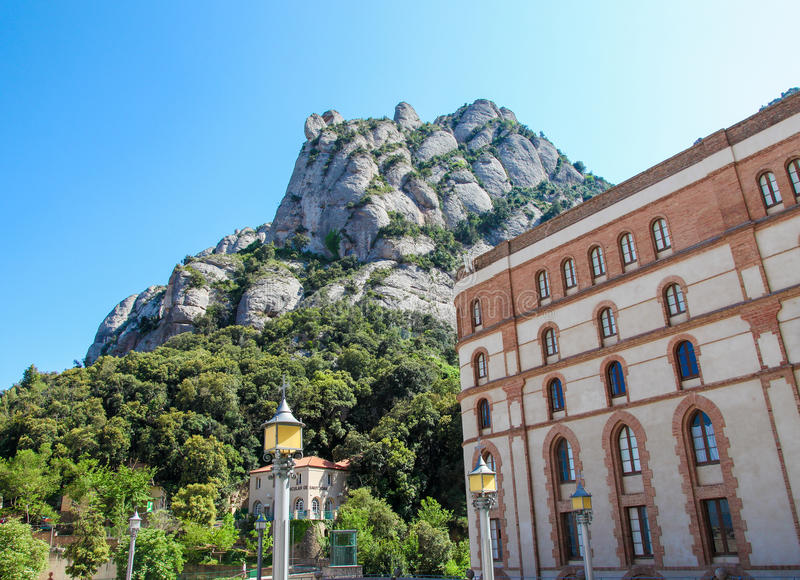 Montserrat mountain and abbey in Catalonia, Spain royalty free stock photos