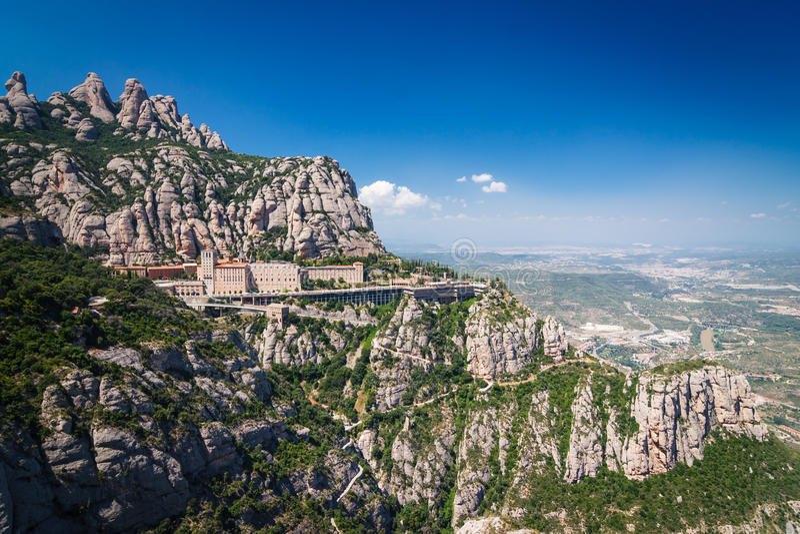 Montserrat Mountain View. A mountain view with monastery in Montserrat, Spain stock photo