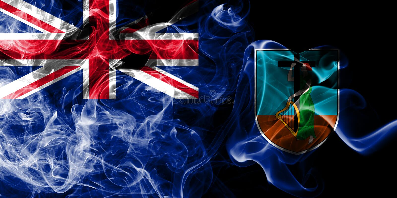 Montserrat rökflagga, beroende territorium flagga för brittiska utländska territorier, Britannien stock illustrationer
