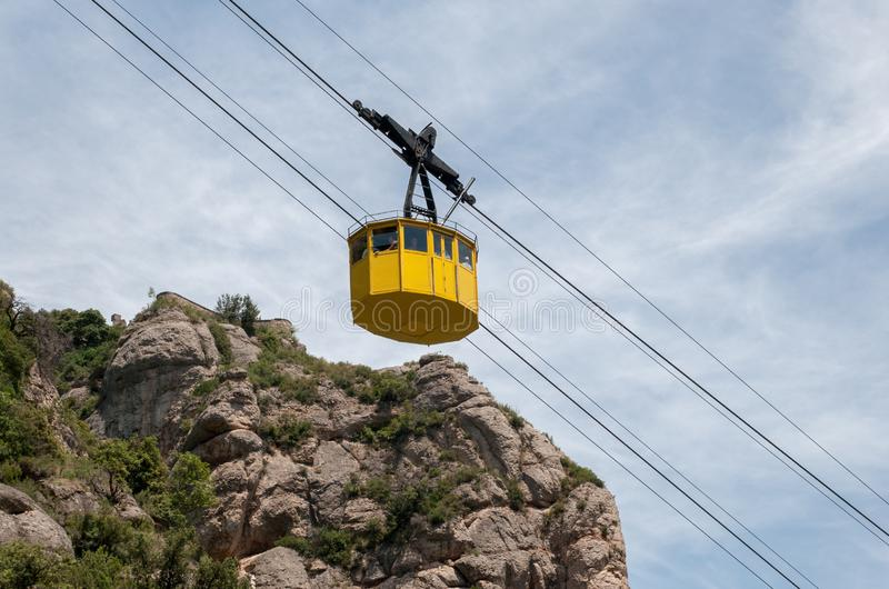 Cable car ride to Montserrat Abbey. Spain. MONTSERRAT SPAIN - JUNE 17, 2011: Cable car ride to Montserrat Abbey. Spain royalty free stock image
