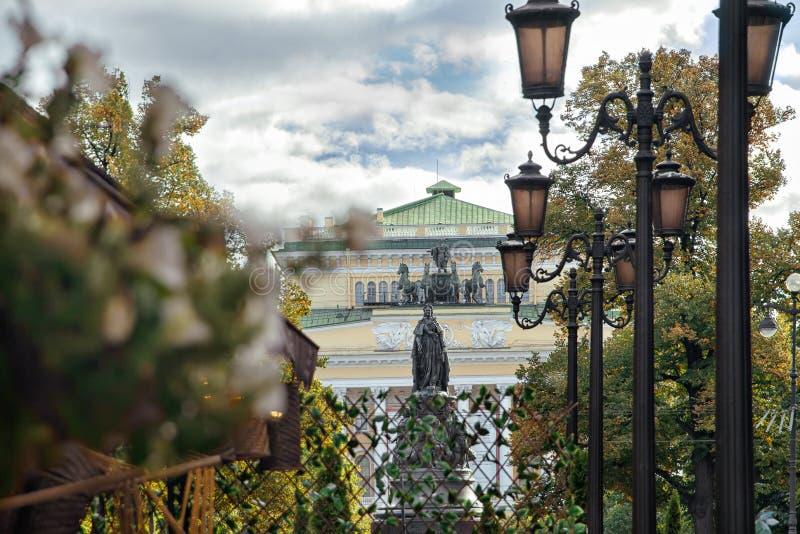 Monument à Catherine II, rue Malaya Sadovaya à St Petersburg photo stock