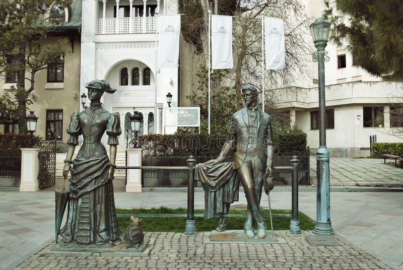 Monument à Chekhov sur le remblai de Yalta images libres de droits