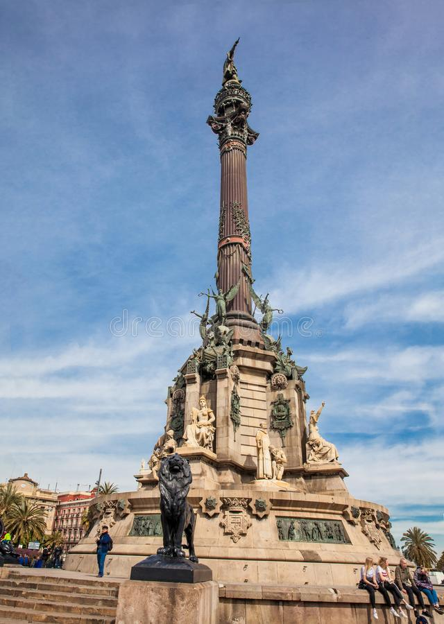 Monument à Christopher Columbus au plus bas de gamme de la La Rambla à Barcelone Espagne image stock