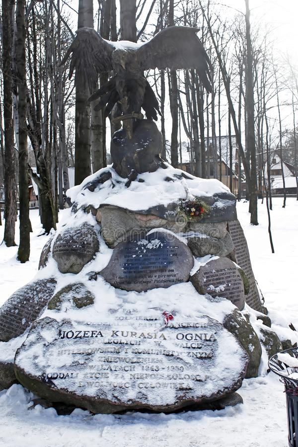 Monument à Jozef Kurasia, lieutenant dans l'armée polonaise depuis 1939, Zakopane, Pologne image stock