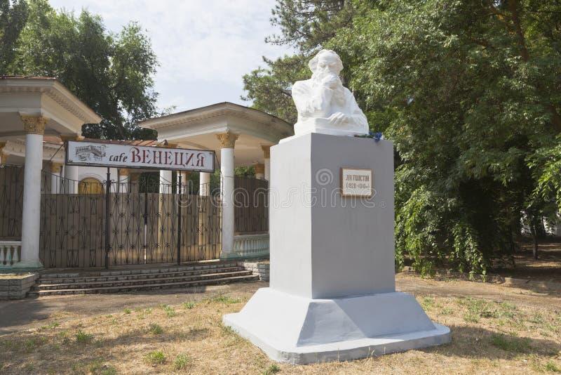 Monument à Lev Nikolaevich Tolstoy dans la ville d'Evpatoria, Cr photo stock