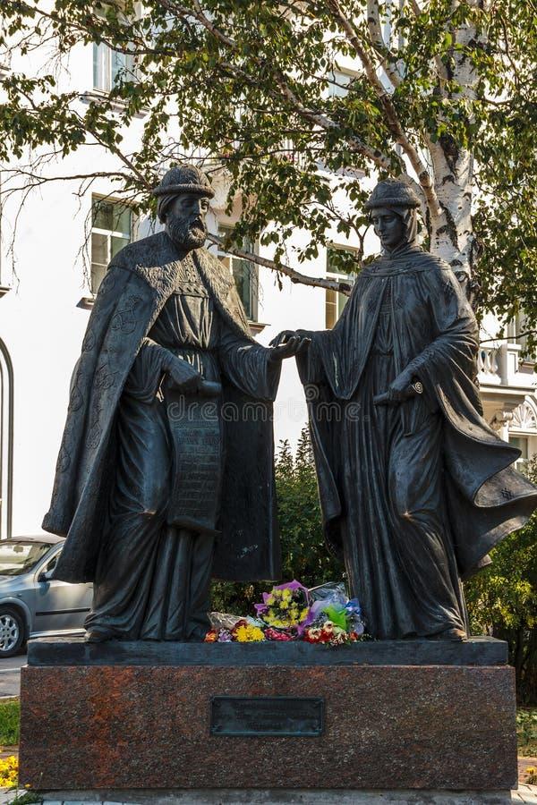 Monument à Peter et Fevronia de Murom dans Arkhangelsk image libre de droits