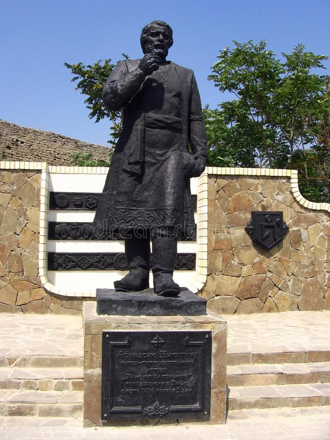 Monument aan Afanasy Nikitin in Feodosiya, de Oekraïne royalty-vrije stock foto