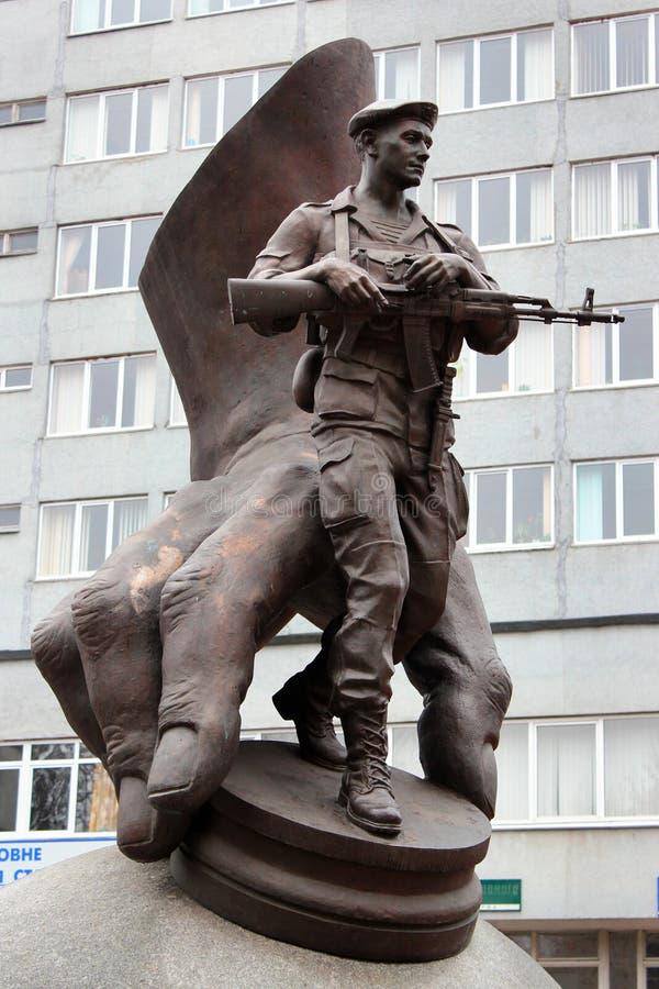 Monument aan Afghaanse slachtoffers in Khmelnytsky, de Oekraïne stock afbeeldingen