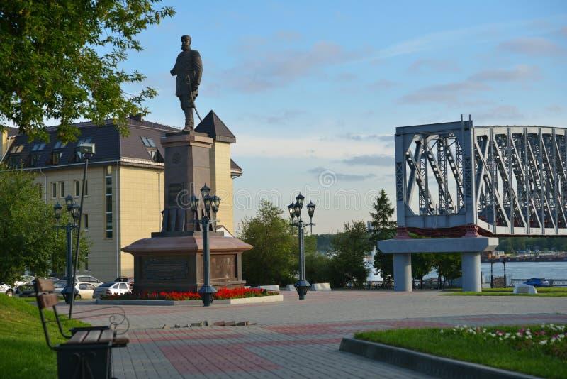 Monument aan Alexander III in Novosibirsk, Rusland royalty-vrije stock fotografie