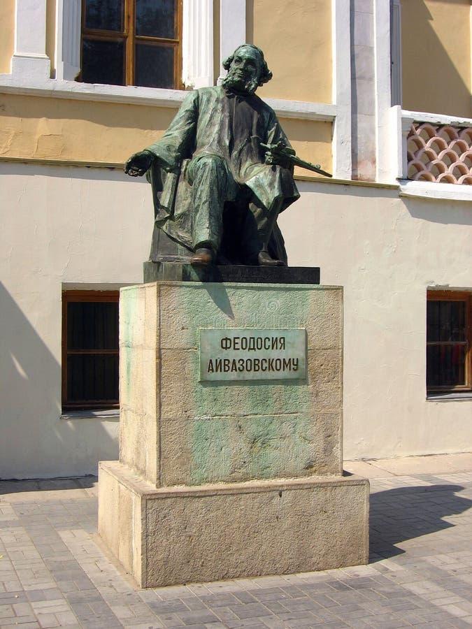 Monument aan beroemde Russische schilder Ivan Aivazovsky in Feodosiya, de Oekraïne stock afbeelding