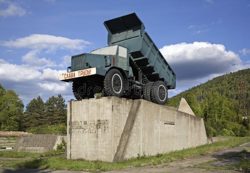 Monument aan bestuurders in Divnogorsk Krasnoyarskkrai Rusland stock afbeelding