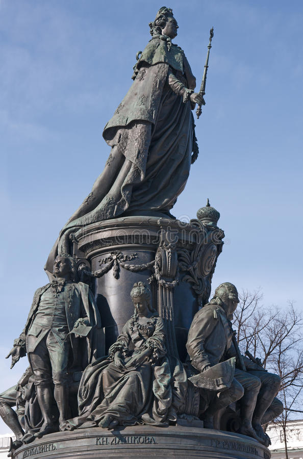 Monument aan Catherine II in St. - Petersburg stock foto's