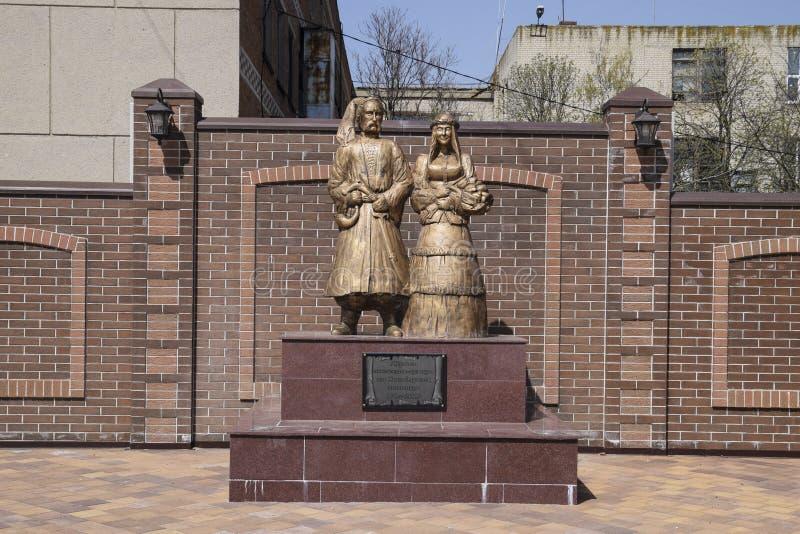 Monument aan de eerste kolonistenkozakken in het dorp van Poltavskaya, Krasnodar-Grondgebied royalty-vrije stock fotografie