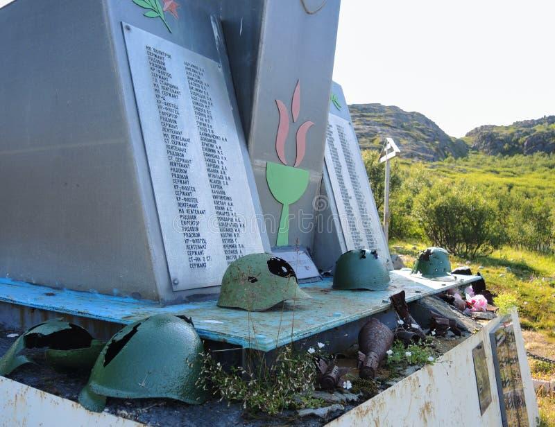 Monument aan de gevallen helden van het Rybachy-Schiereiland Titovka stock afbeelding