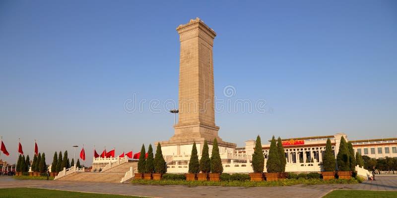 Monument aan de Helden van de Mensen bij het Tiananmen-Vierkant, Peking, China stock foto