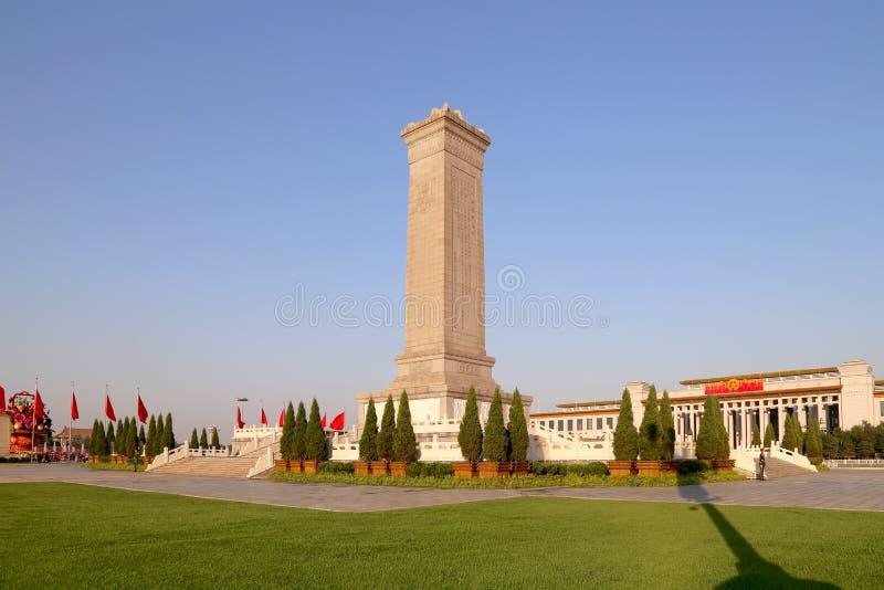 Monument aan de Helden van de Mensen bij het Tiananmen-Vierkant, Peking, China stock foto's